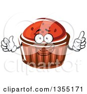 Clipart Of A Cartoon Cupcake Character With Chocolate Chips Royalty Free Vector Illustration