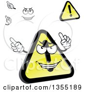 Clipart Of A Cartoon Face Hands And Shiny Hazard Warning Signs Royalty Free Vector Illustration by Vector Tradition SM