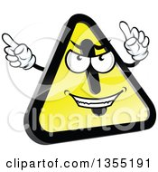 Clipart Of A Shiny Hazard Warning Sign Character Royalty Free Vector Illustration