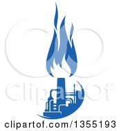 Clipart Of A Silhouetted Blue Natural Gas And Flame Factory Royalty Free Vector Illustration