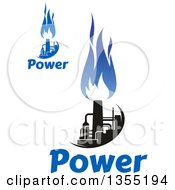 Black And Blue Natural Gas And Flame Designs With Text