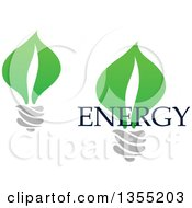 Clipart Of Green Leaf Light Bulbs And Energy Text Royalty Free Vector Illustration