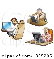 Clipart Of Cartoon Business Me Working On Computers Royalty Free Vector Illustration by Vector Tradition SM