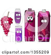 Clipart Of A Happy Bunch Of Purple Grapes Character Juice Glasses And Cartons Royalty Free Vector Illustration by Vector Tradition SM
