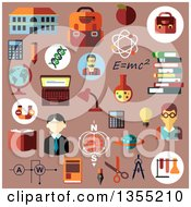 Clipart Of Flat Esign Education And Science Icons Over Pink Royalty Free Vector Illustration