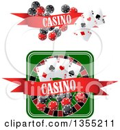 Clipart Of Casino Roulette Wheel Poker Chips And Playing Cards Designs Royalty Free Vector Illustration by Vector Tradition SM