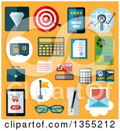 Clipart Of Flat Design Financial And Commerce Icons Over Yellow Royalty Free Vector Illustration by Seamartini Graphics