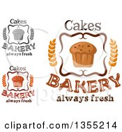 Clipart Of Muffin And Bakery Text Designs Royalty Free Vector Illustration