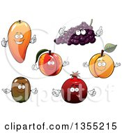Clipart Of Mango Grapes Apricot Peach Pomegranate And Kiwi Fruit Characters Royalty Free Vector Illustration by Vector Tradition SM