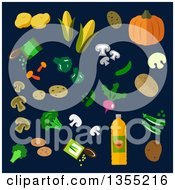 Clipart Of Flat Design Vegetables Over Dark Blue Royalty Free Vector Illustration by Vector Tradition SM