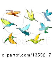 Clipart Of Sketched Hummingbirds Royalty Free Vector Illustration