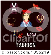 Clipart Of A Flat Design Woman In Red Beret And Neckerchief With Accessories Over Text On Black Royalty Free Vector Illustration