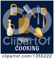 Clipart Of Flat Design Kitchen Tools Over Text On Blue Royalty Free Vector Illustration