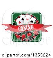 Clipart Of A Casino Roulette Wheel With Poker Chips Playing Cards And A Banner Royalty Free Vector Illustration