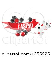 Clipart Of A Casino Banner With Playing Cards And Poker Chips Royalty Free Vector Illustration