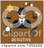 Clipart Of A Flat Design Male Detective Avatar With Accessories Over Text On Brown Royalty Free Vector Illustration