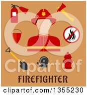 Clipart Of A Flat Design Fireman Avatar And Accessories Over Tan And Text Royalty Free Vector Illustration