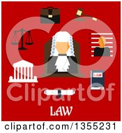 Clipart Of A Flat Design Judge Wearing A Wig With A Law Book Gavel Prisoner Photo Court Building Scales Paper Scroll Briefcase And Text On Red Royalty Free Vector Illustration