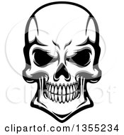 Clipart Of A Grayscale Grinning Human Skull Royalty Free Vector Illustration
