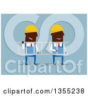 Clipart Of Flat Design Black Businessmen Contractors Carrying A Ladder Royalty Free Vector Illustration by Vector Tradition SM