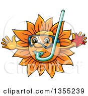 Clipart Of A Cartoon Happy Sun Character Holding A Starfish Wearing Goggles And A Snorkel Royalty Free Vector Illustration