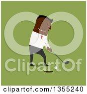 Clipart Of A Flat Design Black Businessman Golfing Over Green Royalty Free Vector Illustration