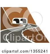 Clipart Of A Curvy Cliff Side Road Leading To A Tunnel Royalty Free Vector Illustration