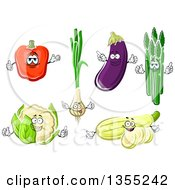 Clipart Of Cartoon Red Bell Pepper Green Onion Eggplant Asparagus Cauliflower And Squash Characters Royalty Free Vector Illustration by Vector Tradition SM