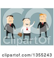 Clipart Of A Flat Design White Businessman Waving By Guards On Blue Royalty Free Vector Illustration
