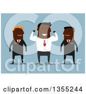 Clipart Of A Flat Design Black Businessman Flexing His Muscles Between His Guards Over Blue Royalty Free Vector Illustration
