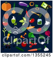 Clipart Of Flat Design Vegetables Over Dark Blue Royalty Free Vector Illustration
