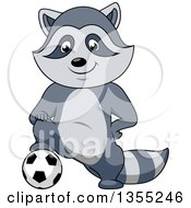 Clipart Of A Cartoon Raccoon Resting A Foot On A Soccer Ball Royalty Free Vector Illustration by Vector Tradition SM