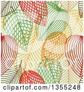 Clipart Of A Seamless Background Pattern Of Sketched Skeleton Autumn Leaves On Green Royalty Free Vector Illustration by Vector Tradition SM