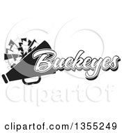 Clipart Of A Black And White Buckeyes Cheerleader Design Royalty Free Vector Illustration