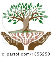 Clipart Of A Family Tree With Green Leaves White Roots And Uplifted Hands Royalty Free Vector Illustration