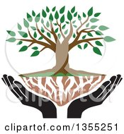 Clipart Of A Tree With Green Leaves White Roots And Black Uplifted Hands Royalty Free Vector Illustration