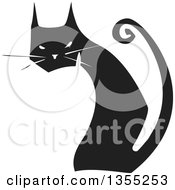 Clipart Of A Black And White Woodcut Black Cat Sitting And Looking Back Royalty Free Vector Illustration
