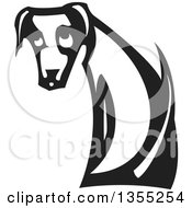 Clipart Of A Black And White Woodcut Sad Dog Sitting And Looking Back Royalty Free Vector Illustration