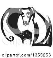 Clipart Of A Black And White Woodcut Yin Yang Of A Cat And Dog Royalty Free Vector Illustration
