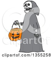 Clipart Of A Cartoon Halloween Skeleton Wearing A Hood And Carrying A Pumpkin Basket Royalty Free Vector Illustration