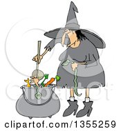 Cartoon Fat Warty Halloween Witch Adding A Snake Into Her Brew