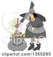 Cartoon Halloween Witch Adding A Snake Into Her Brew