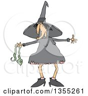 Cartoon Chubby Warty Halloween Witch Holding A Snake