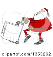 Cartoon Christmas Santa Claus Pushing A Dryer On A Hand Truck Dolly