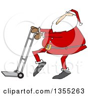 Clipart Of A Cartoon Christmas Santa Claus Pushing A Hand Truck Dolly Royalty Free Vector Illustration by Dennis Cox