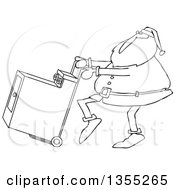 Cartoon Black And White Christmas Santa Claus Pushing A Dryer On A Hand Truck Dolly