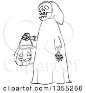 Cartoon Black And White Halloween Skeleton Wearing A Hood And Carrying A Pumpkin Basket