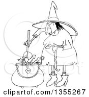 Outline Clipart Of A Cartoon Black And White Halloween Witch Adding A Snake Into Her Brew Royalty Free Lineart Vector Illustration