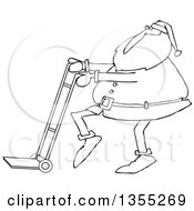 Cartoon Black And White Christmas Santa Claus Pushing A Hand Truck Dolly