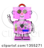 3d Friendly Retro Pink Female Robot Waving